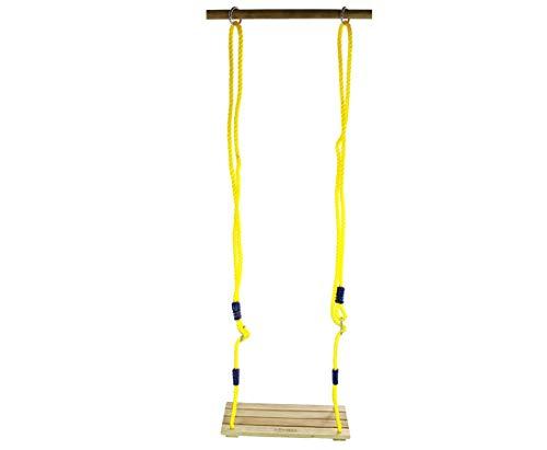 bambus-discount.com Schaukelsitz aus naturbelassenen Hartholz, höhenverstellbares farbiges Seil aus Kunststoff - Kinderspielgeräte für Garten, Spielgeräte für Kinder, Spielturm, Spieltürme