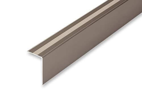 (13,73€/m) Treppenwinkel 30 x 52 x 900 mm 6 Eloxalfarben | selbstklebend | ungebohrt | gebohrt | Treppenkantenprofil | (30 x 52 x 900 mm (ungebohrt), edelstahl-look)