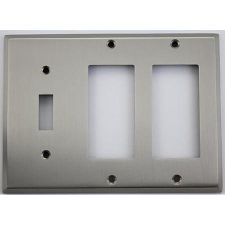 Satin Nickel 3 Gang Wall Plate 1 Toggle 2 Gfi Rocker Switch Plates