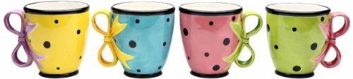 Appletree Design Dilly Dots Teacups, 4-Inch, Set of 4