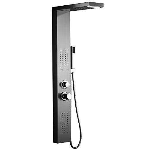 HENGMEI Duschpaneel Duschsystem Edelstahl Gebürstet Duscharmatur Duschset mit Regendusche, Massagedusche, Wasserfalldusche, Handbrause (Silber)