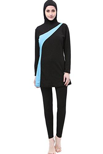 BOZEVON Muslimischen Badeanzug - Muslim Islamischen Bescheidene Badebekleidung Modest Swimwear Beachwear Burkini für Damen, Schwarz+Blau, EU L=Tag XL
