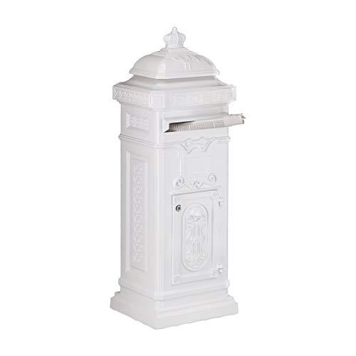Relaxdays Standbriefkasten Antik, britisches Design, rostfreies Aluminium, HBT: 101x34,5x31 cm, Säulenbriefkasten, weiß