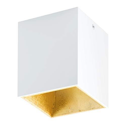 EGLO LED Deckenleuchte Polasso, 1 flammige Deckenlampe, Material: Aluminium, Kunststoff, Farbe: Weiß, gold, L: 10x10 cm
