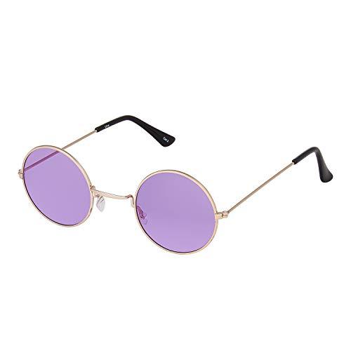 Ultra Gold Rahmen mit Lila Linsen Klein John Lennon Stile Erwachsene Retro Rund Sonnenbrille Männer Frauen UV400 Klassische Brillen Unisex Sonnenbrille Herren Sonnenbrille Damen