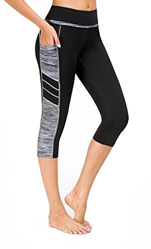 Flatik Damen Netzoberfläche Sport Gym Yoga Laufen Fitness Leggings Hose, Schwarz Grau(3/4 Capri), S