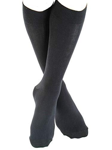 ALBERO 2 Paare Strümpfe Socken Damen Herren Bio-Baumwolle Freizeitsocken längere bunt Höhe (39-42, schwarz)