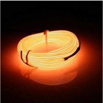 MASUNN 5M El LED Flessibile Morbido Tubo Filo Neon Bagliore Auto Rope Strip Luce Natale Decor DC 12V-Arancia