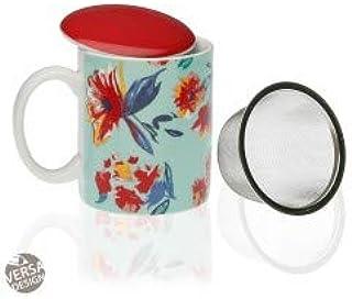 VERSA Txt Tazza con infusore in Porcellana con Coperchio e Filtro Crema Dimensione 8 x 10 h cm