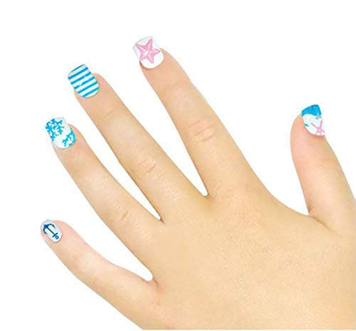 Tokkids 24 pcs fau ongles enfant, pré collé (summer sea)