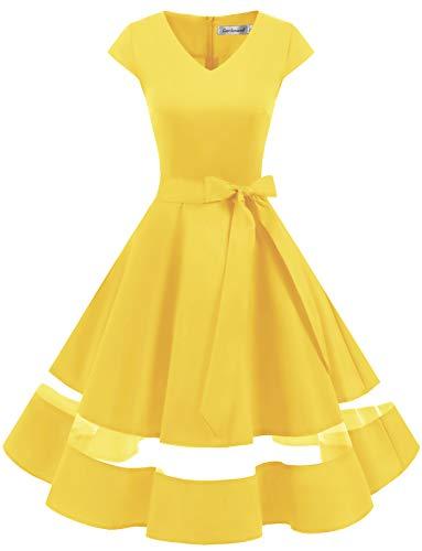 Gardenwed 1950er Vintage Retro Rockabilly Kleider Petticoat Faltenrock Cocktail Festliche Kleider Cap Sleeves Abendkleid Hochzeitkleid Yellow XL