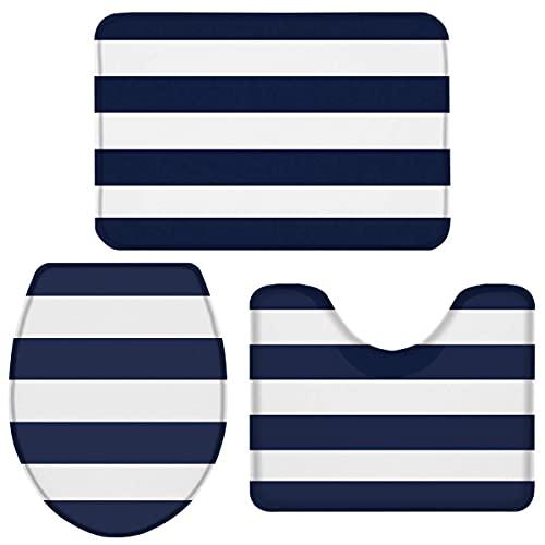 3 Pieces Morocco Bathroom Rugs, Anti-Slip Sponge Bath Rug, Absorbent Bath Mats Set, Perfect Carpet for Tub, Shower, Bath Room Large Size, White Blue Geometric Striped Plaid