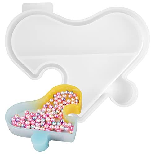 HQdeal moldes de Caja de resina de silicona, Moldes Resina Epoxi Joyeria en forma de corazón Molde de caja de baratijas Molde para hacer artesanías de resina