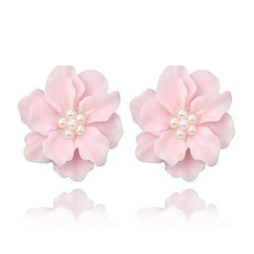 XKMY Pendientes de tuerca para mujer sexy mujer con flores negras para fiestas y clubes. Pendientes de perlas coreanas (color metálico: rosa)