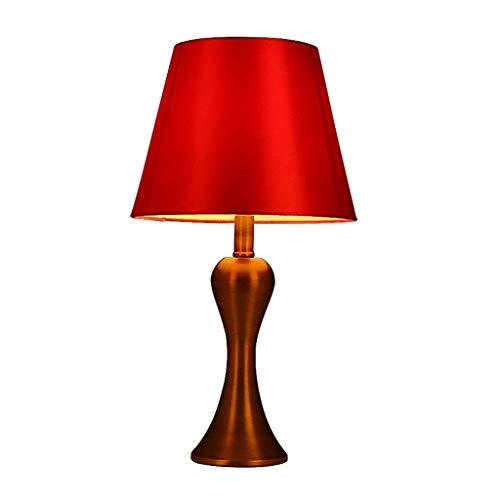 Lampe de bureau Designs simples Lampes de table Salon Décor Chambre À Coucher Table De Nuit Lumière Moderne Rouge Tissu Ombre Décoration