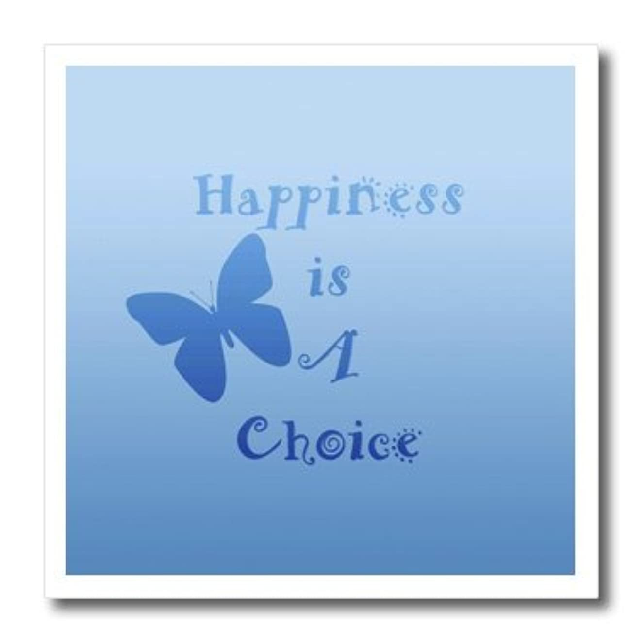 3dRose ht_59923_1 Pretty Aqua Inspired Happiness is a Choice Butterfly Art Iron on Heat Transfer for White Material, 8 by 8-Inch