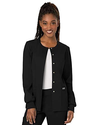 Cherokee Women's Snap Front Warm-up Jacket, Black, X-Small