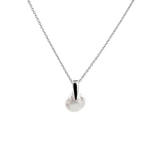 Secret & You Collar de Perla Cultivada de Agua Dulce Keshi Cadena y Colgante de Plata de Ley de 925 milésimas Rodiada - 45 cm de Largo.