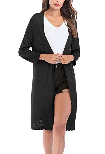 Koftor kvinnor höst långa avsnitt och kofta stil enkel tunn andas långärmad normallacks solskärmrockar mysiga ytterkläder