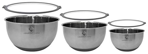 Gourmet Home Products Steel Mixing Bowls, 6-pc set, Charcoal