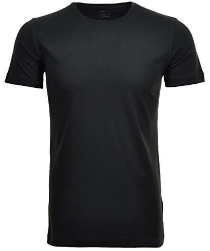 Ragman Herren 2 T-Shirt Doppelpack Bodyfit mit Rundhals, Schwarz, M