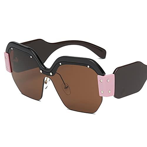 HFSKJ Gafas de Sol, Gafas de Sol de una Pieza Gafas de Sol Personalizadas con protección UV de Montura Grande Las Gafas Populares Son adecuadas para Hombres y Mujeres,H