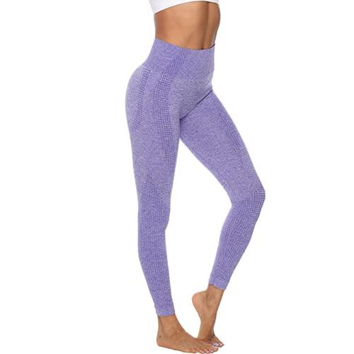 QTJY Pantalones de Yoga sin Costuras de Cintura Alta, Mallas Deportivas para Correr para Mujer, Pantalones Deportivos para Entrenamiento en Cuclillas, Pantalones Deportivos M XL