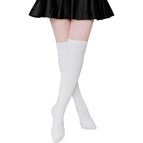 Vobery Stövelstrumpor, kvinnors enfärgade stickning lårhöga stövlar strumpor extra långa vinterstrumpor benvärmare knähöga strumpor (vit)