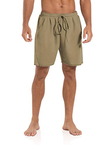 Agnes Urban Mens 5.7' Shorts Athletic Running Workout Casual Lounge Elastic Waist Active Gym Cotton Terry Shorts with Pockets Khaki