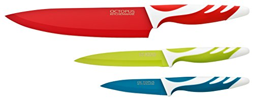 Küchenmesser-Set - 3 Qualitäts-Messer mit Klingenschutz - Kochmesser, Allzweckmesser-Fleischmesser, Schälmesser-Gemüsemesser, antihaft - hygienisch, leicht zu säubern, extra scharf, rutschfeste Griffe