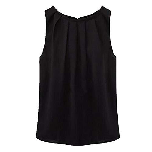N\P Mujeres Tropical Sexy Fold sin mangas O cuello gasa Blusas Top Shirt