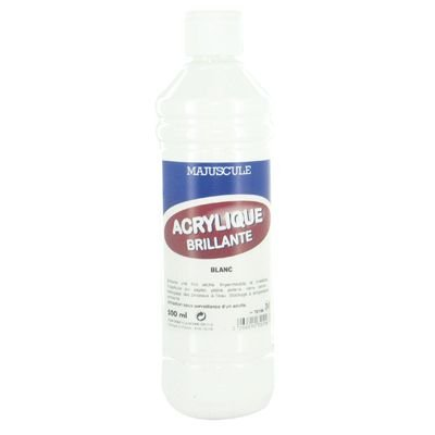 Majuscule-peinture Acrylique Brillante Blanc - Flacon De 500ml [Jouet]