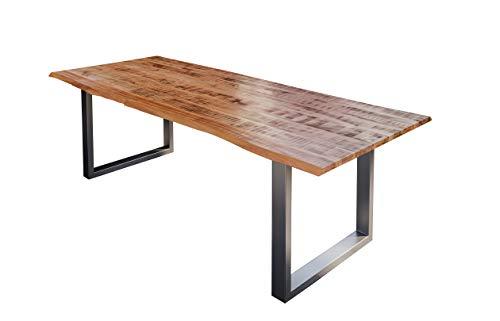 SAM Esstisch Darwin 160 x 85 cm, Mangoholz massiv, lackiert & naturfarben, Baumkantentisch mit Metallgestell in Silber, echte Baumkante, 26 mm