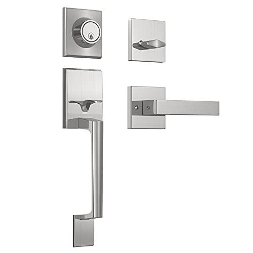 Front Door Handleset with Deadbolt Entry Door Handle with Door Lever for Right & Left Sided Doors Satin Nickel