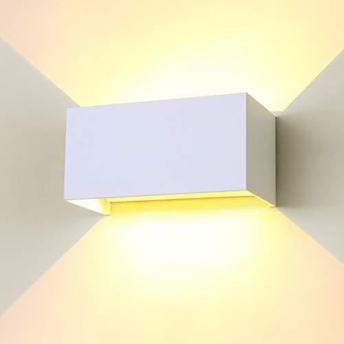ENCOFT 24W Lámpara de Pared COB LED Exterior Interior Moderno, Aplique Pared Ángulo de Luz Ajustable en Aluminio, Apliques de Exterior Impermeable IP65, Blanco Cálido 3000K 2400LM, Blanco