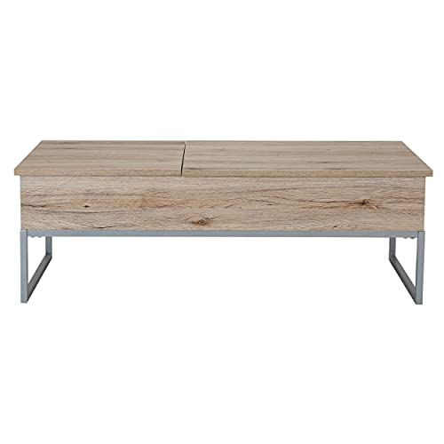 Sandy Brown Wood Lift Top Storage Coffee Table