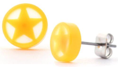 DonDon - Pendientes redondos con tuerca de acero inoxidable, color naranja y amarillo