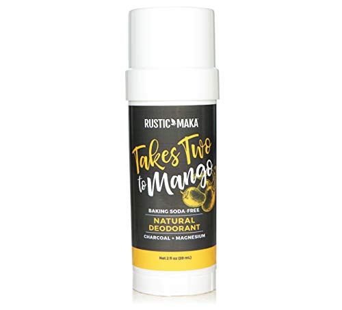 Rustic MAKA Natural Deodorant, Takes Two To Mango (Mango + Lime), Free of Aluminum, Baking Soda & Parabens, Activated Charcoal + Magnesium, Continuous Odor Control