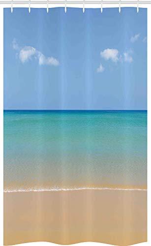 ABAKUHAUS Landschaft Schmaler Duschvorhang, Ruhiger Strand Heiße Sonne, Badezimmer Deko Set aus Stoff mit Haken, 120 x 180 cm, Creme Türkis