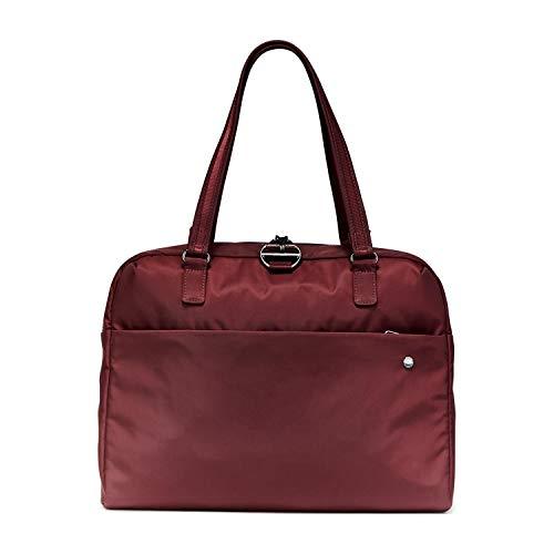 Pacsafe Citysafe CX Slim Briefcase, schmale Aktentasche, Henkeltasche mit Diebstahlschutz, Weinrot/Merlot