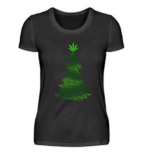 EBENBLATT Hanf Marihuana Cannabis Weihnachtsbaum Weihnachten 2018 Gras Rauchen Christmas Geschenk - Damen Premiumshirt