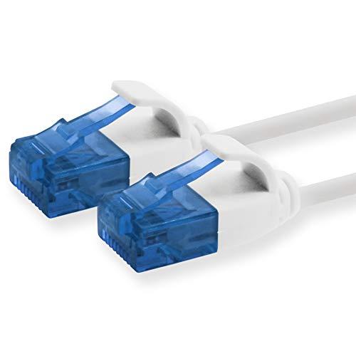 1aTTack.de 660561 Cat6 Cat.6 Kabel Cat Netzwerkkabel 0,3m - Patchkabel Slim Kabel (Kleiner Durchmesser - sehr flexibel) 1000 Mbit/s - 1 Stück - weiß