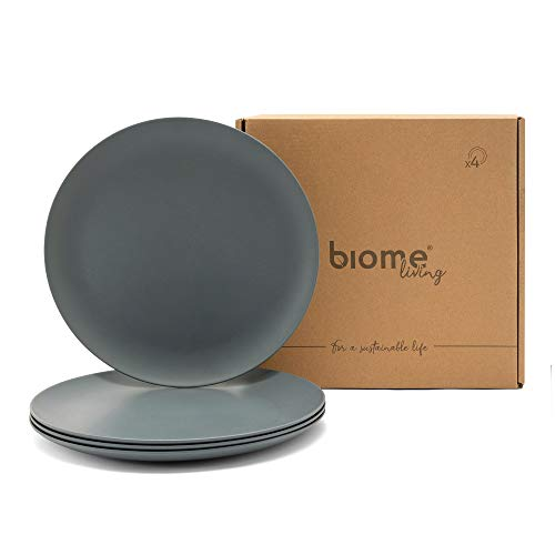 Biome Living Set de 4 platos lisos de bambú, sin BPA - Platos de bambú elegantes y ecológicos - Vajilla de bambú para adultos y niños cm. 25x25x1,8 h - Set de 4 piezas en color gris claro