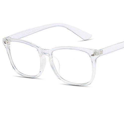 Twinkleyes Retro Nerdbrille Runde Brille Fensterglas Ohne Stärke Hornbrille Groß Damen Herren Brillenetui (Transparent)