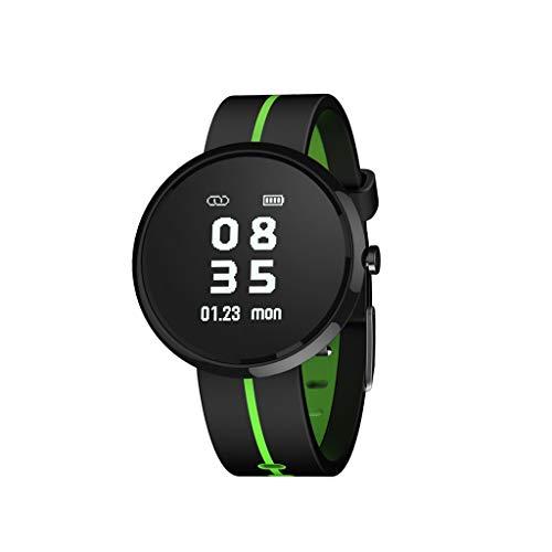 HHJEKLL Intelligentes Armband Smart Armband Blutdruck HeartRate Monitor IP67 wasserdicht Anruferinnerung Activity Tracker Sportuhr, schwarz grün