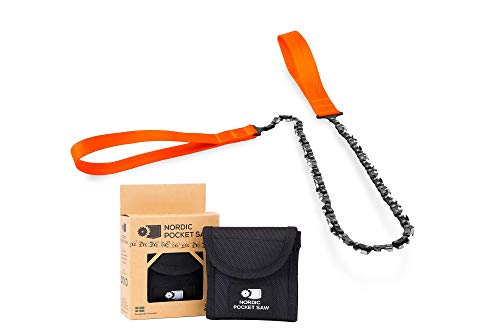 "Nordic Pocket Saw Survival Chainsaw - 25.6"" Pocket Chainsaw With Nylon Case - Handheld Chainsaw Survival Saw Camping Saw - 33 Bi-Directional Teeth ORIGINAL Vers. - Outdoor Portable Saw Bushcraft Saw"