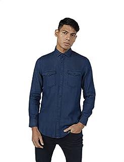 Splash Cotton Chest Button Pocket Long Sleeves Shirt for Men