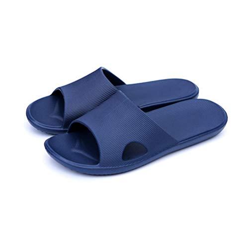 KIKIGO Sandalias antideslizantes de verano, sandalias antideslizantes y zapatillas de baño, zapatos de baño para hombre, suela suave, color azul marino_44