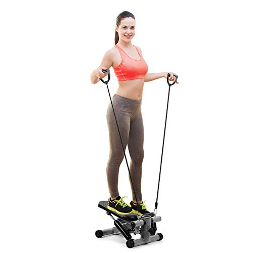 OMMO Mini Steppers for Exercise, Adjustable Stepper Machine with Resistance Bands and LCD Display, Portable Climber Stair Stepping Fitness Machine (Gray) from OMMO