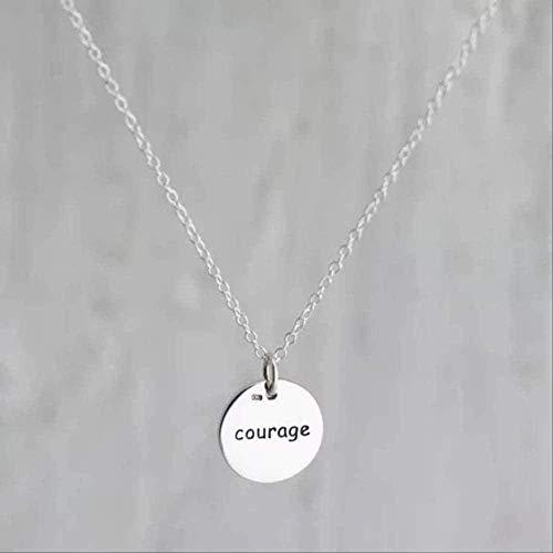 CCXXYANG Co.,ltd Collar Collar De Coraje Inspirador Personalizado 925 Collares De Letras Hechos A Mano De Plata Joyería Amigos